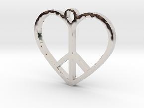 Peace Sign Heart Love Pendant in Platinum