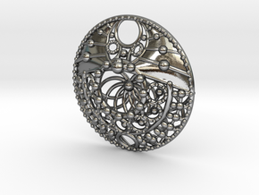 Mandala Pendant  in Polished Silver