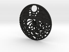 Mandala Pendant  in Black Natural Versatile Plastic