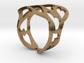 Ring of hearts  in Natural Brass