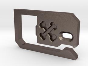 Belt Loop Key Hook Bottle Opener in Polished Bronzed Silver Steel