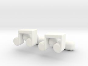Music Note Cufflinks in White Processed Versatile Plastic