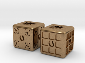 Test Printing Space Dice in Natural Brass