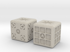 Test Printing Space Dice in Natural Sandstone