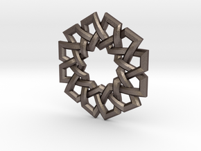Hexad Pendant in Polished Bronzed Silver Steel