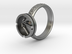 Smoke ring(USA 5.5,Japan 10,Britain K) in Natural Silver