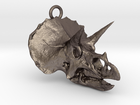 Triceratops pendant  in Polished Bronzed Silver Steel
