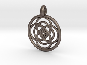 Iocaste pendant in Polished Bronzed Silver Steel