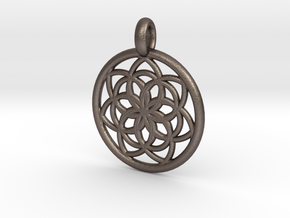 Kale pendant in Polished Bronzed Silver Steel
