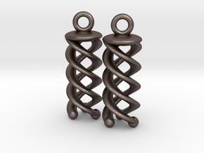 Triple Helix Earrings in Polished Bronzed Silver Steel