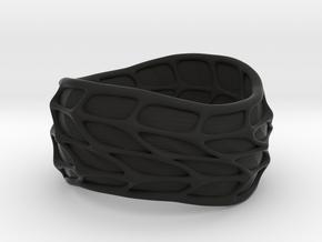 Panel Twist Ring (sz 9) in Black Natural Versatile Plastic