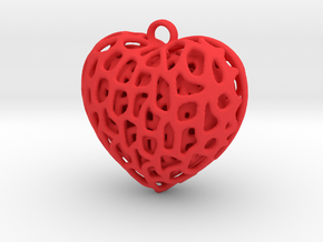 Three Hearts Embraced in Red Processed Versatile Plastic