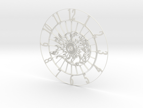 Sun-Moon Clock Face in White Strong & Flexible