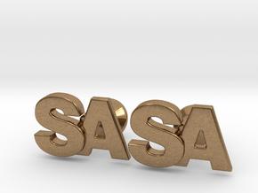Monogram Cufflinks SA in Natural Brass