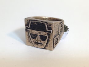 Heisenberg Ring size 8 in Polished Bronzed Silver Steel