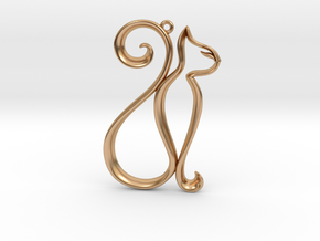 The Cat Pendant in Polished Bronze