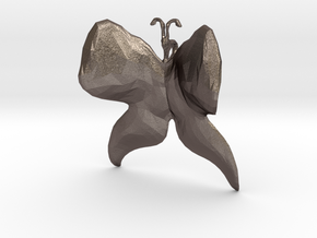 Butterfly (low poly) pendant in Polished Bronzed Silver Steel