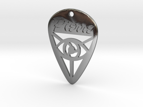 Guitar Pick (Pierre) in Polished Silver