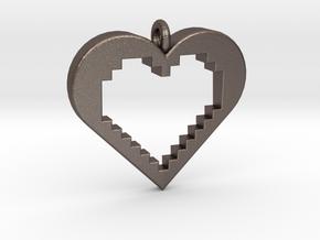 Pixel Heart in Polished Bronzed Silver Steel