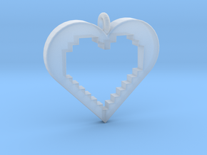 Pixel Heart in Smooth Fine Detail Plastic