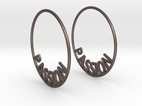 Custom Hoop Earrings - Passion 40mm in Polished Bronzed Silver Steel