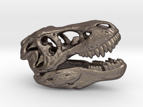 Tyrannosaurus rex skull - 40mm in Polished Bronzed Silver Steel