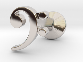 Bass Clef Cufflink (single) in Platinum