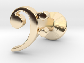 Bass Clef Cufflink (single) in 14K Yellow Gold