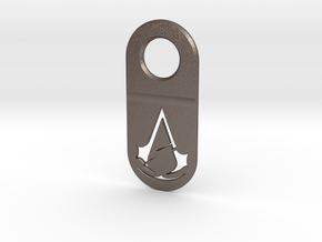 Assassin Unity Keychain Pendant (Hollow) in Polished Bronzed Silver Steel