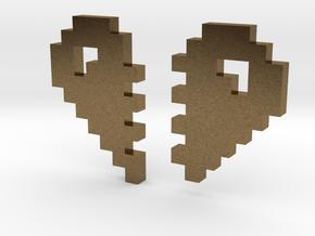 2 Halfs of an 8 Bit Heart (Pixel Heart) in Natural Bronze