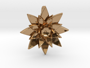 Lotus Flower Pendant in Polished Brass