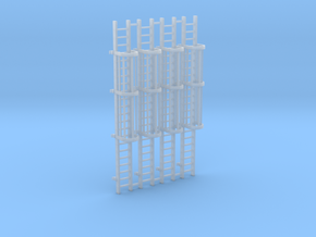 'N Scale' - (4) - 20' Caged Ladder in Smooth Fine Detail Plastic