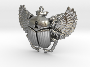 3D printed Winged Scarab in Natural Silver