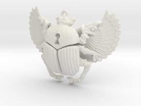 3D printed Winged Scarab in White Natural Versatile Plastic