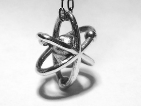 Atom pendant 1 in Polished Silver