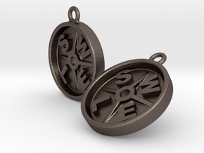 SWOLE Plate - Earrings in Polished Bronzed Silver Steel