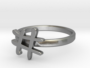 Hashtag Ring Size 6 in Natural Silver
