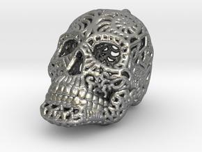 Filigree Sugar Skull Pendant 1 in Natural Silver