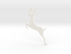 Reindeer Jumping Ornament in White Processed Versatile Plastic
