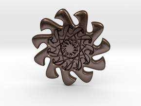 WaveO 11point Button - 2.5cm in Polished Bronze Steel