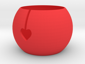 Funky Heart Knitting Bowl in Red Processed Versatile Plastic