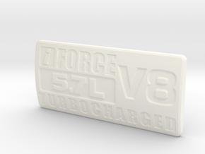 Badge-5.7-TC v01 in White Processed Versatile Plastic