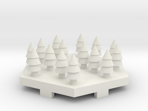 Snowy Forrest Tile in White Natural Versatile Plastic