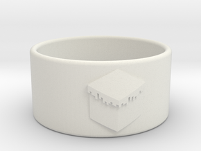 Minecraft Ring 18.5mm in White Natural Versatile Plastic