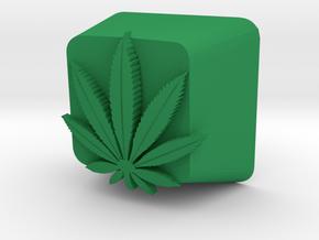 Marijuana Leaf Cherry MX Keycap in Green Processed Versatile Plastic
