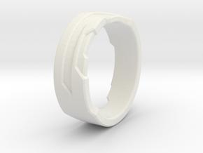 Ring Size M in White Natural Versatile Plastic