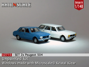 SET 2x Peugeot 504 (British N 1:148) in Frosted Ultra Detail