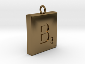 Scrabble Charm or Pendant B blank back Pendant in Polished Bronze