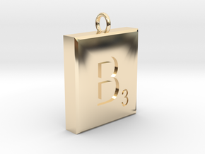 Scrabble Charm or Pendant B blank back Pendant in 14K Yellow Gold