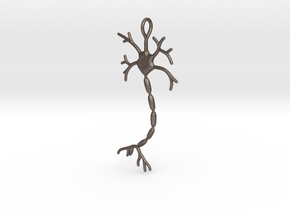 "Neuron Pendant (2.2"" high) in Polished Bronzed Silver Steel"